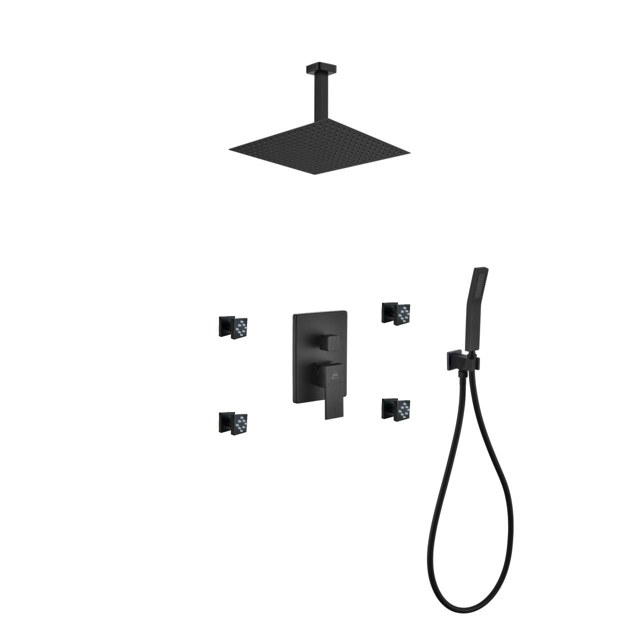 Aqua Piazza Matte Black Shower Set With 12 Ceiling Mount Square Rain Shower 4 Body Jets And Handheld