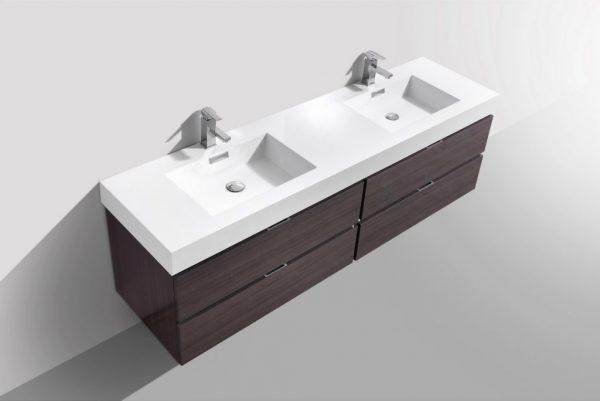 Bliss 80 Double Sink High Gloss Gray Oak Wall Mount Modern Bathroom Vanity Bathmiami